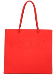 Moschino Logo Embossed Shopper Tote Red