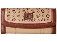 The Sak Iris Flap Wallet Taupe Floral Perf Wallet Handbags