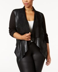 Mblm By Tess Holliday Trendy Plus Size Faux Suede Cascade Jacket Black