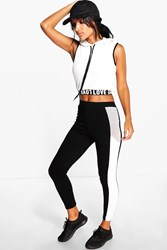 Boohoo Side Panel Running Legging Black
