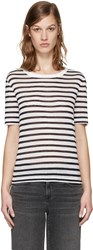 Alexander Wang T By Navy And White Striped T Shirt