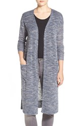 Women's Gibson Long V Neck Open Front Cardigan Navy