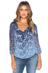 Gypsy 05 3 4 Sleeve Peasant Blouse Blue