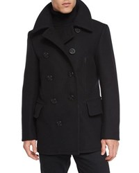 Tom Ford Wool Blend Pea Coat Black