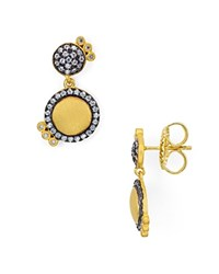 Freida Rothman Pave Disc Drop Earrings Black Gold