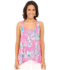 Lilly Pulitzer Monterey Tank Top Dragonfruit Pink Toucan Can Women's Sleeveless