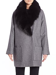 Andrew Marc New York Carine Fox Fur Shawl Coat Graphite