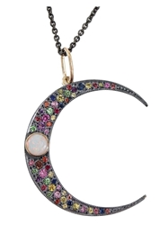 Andrea Fohrman Crescent Moon Pendant Necklace Metallic