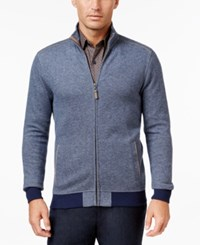 Tasso Elba Men's Herringbone Colorblocked Zipper Jacket Only At Macy's Blue Combo