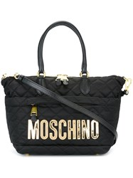 Moschino Logo Quilted Tote Bag Black