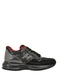 Hogan 60Mm Interactive Glitter Suede Sneakers