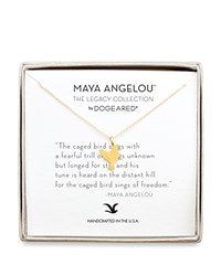 Dogeared Maya Angelou Legacy Collection Caged Bird Necklace 16 Gold
