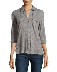 James Perse Slub Knit Button Up Shirt Shadow Salt And Pepper
