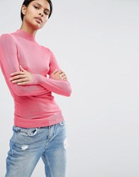 Asos Jumper With Turtle Neck In Soft Yarn Pink