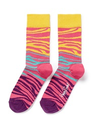 Happy Socks Colourblock Zebra Stripe Socks Multi Colour