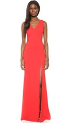 Marchesa Sleeveless Gown With Slit Red