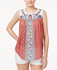 Jolt Juniors' Printed Embroidered Tank Top Poppy Red