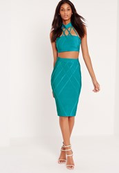 Missguided Premium Lattice Effect Bandage Skirt Blue Turquoise
