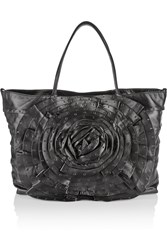 Valentino Rosette Embellished Leather Tote Black