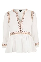 Topshop Embroidered Peplum Smock Blouse White