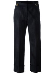 Petar Petrov Pinstriped Cropped Trousers Blue