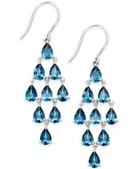 Macy's Blue Topaz Chandelier Earrings 1 10 Ct. T.W. In Sterling Silver