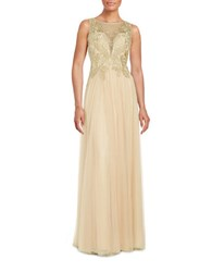 Basix Ii Embroidered Illusion Gown Gold