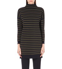 Whistles Striped Funnel Neck Knitted Tunic Top Multi Coloured