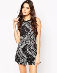 Influence Bandana Print Playsuit Black