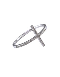 Effy Diamond And 14K White Gold Horizontal Cross Ring