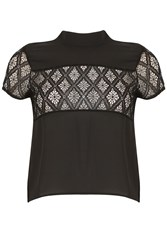 Cutie Lace Panel High Neck Top Black