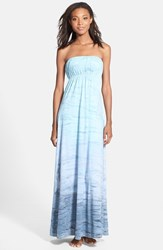 Women's Hard Tail Long Strapless Dress Aqua Blue Gray Tie Dye