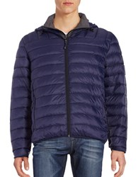 Hawke And Co Packable Down Puffer Hooded Coat Blue