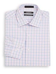 Saks Fifth Avenue Slim Fit Check Cotton Dress Shirt Pink Blue