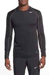 Men's Nike 'Pro Cool Compression' Fitted Long Sleeve Dri Fit T Shirt Black Dark Grey White
