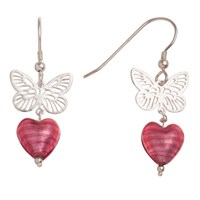 Martick Sterling Silver Butterfly Murano Glass Heart Earrings Raspberry