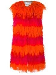Msgm Striped Sleeveless Fur Coat Yellow And Orange