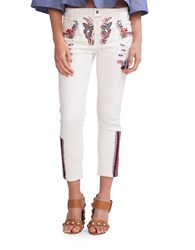 Cynthia Rowley Embroidered Cropped Pants White