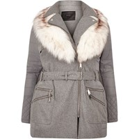 River Island Womens Ri Plus Light Grey Belted Coat