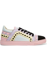 Sophia Webster Riko Laser Cut Leather And Suede Sneakers