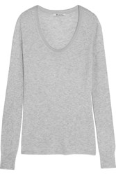 Alexander Wang T By Ribbed Jersey Top Light Gray