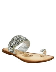 Naughty Monkey Adella Mulle Beaded Leather Sandals Silver