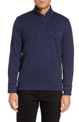 Ted Baker Men's Big And Tall London Funnel Neck Quarter Zip Pullover Mid Blue