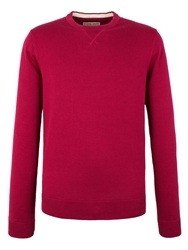 Plain Crew Neck Pull Over Jumpers Dark Pink