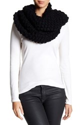 Cole Haan Popcorn Stitch Hand Knit Infinity Scarf Black