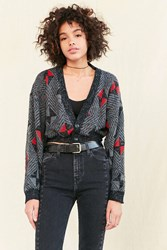 Urban Renewal Remade Cropped Vintage Patterned Cardigan Grey