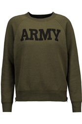 Nlst Army Cotton Blend Sweatshirt Army Green