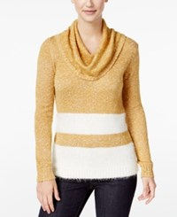 G.H. Bass And Co. Striped Cowl Neck Sweater Gold Combo