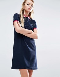 Fred Perry Stripe Collar Polo Dress Navy