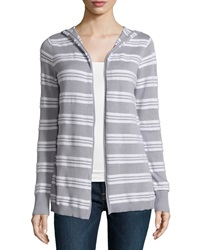 Minnie Rose Hooded Cotton Blend Striped Cardigan Gray White